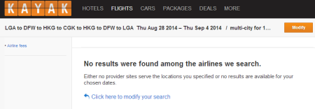 KAYAK Search Results