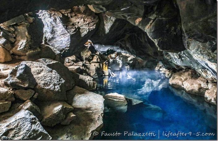 Grjótagjá is a natural hot spring inside a cave