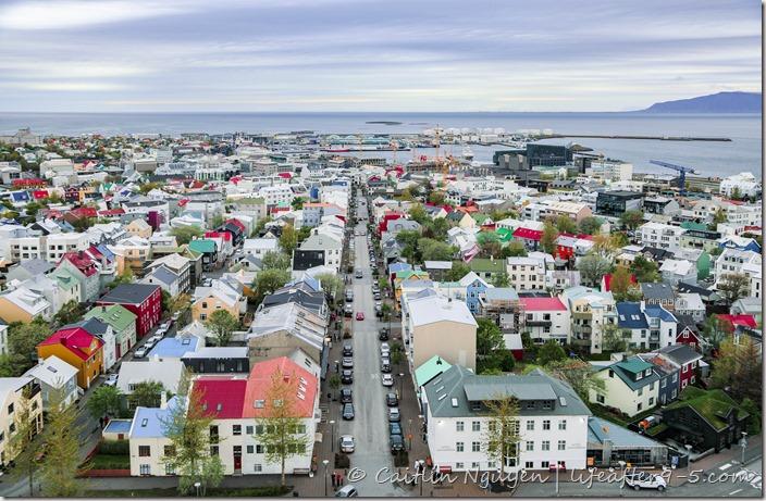 View of colorful Reykjavik houses from Hallgrímskirkja