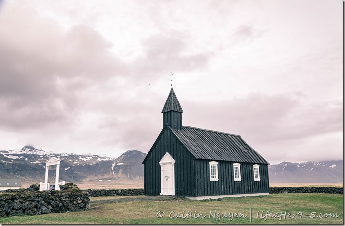Búðakirkja the famous black church with storm sky
