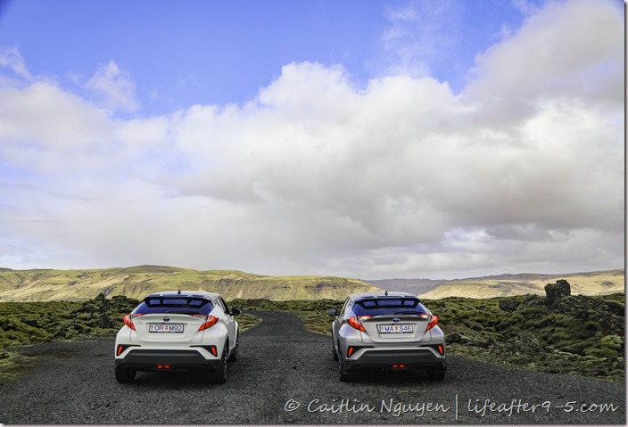 Two SUV in Eldhraun the largest lava field in Iceland