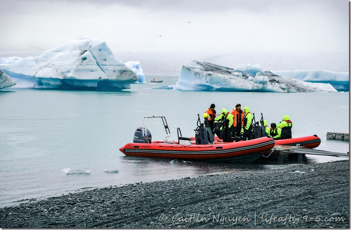 Two Zodiac boats touring Jökulsárlón Glacier Lagoon