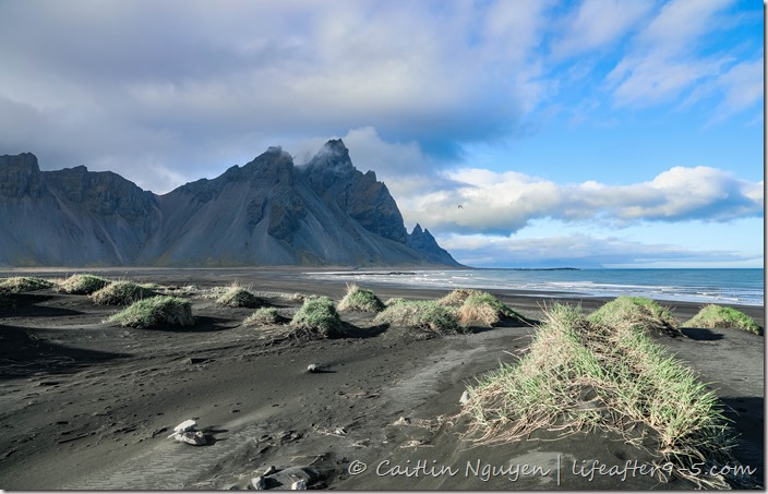 Black beach at Stokksnes with mountain in background
