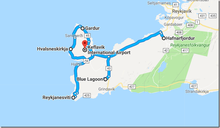 Map of Ultimate Iceland Road trip going from Reykjavik to Reykjanes Peninsula