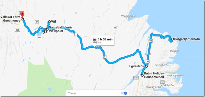 Map of Ultimate Iceland Road trip going from Egilsstaðir to Myvatn