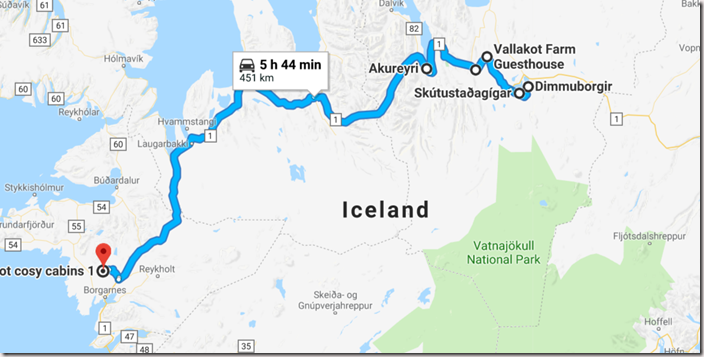 Map of Ultimate Iceland Road trip going from Myvatn to Borganes