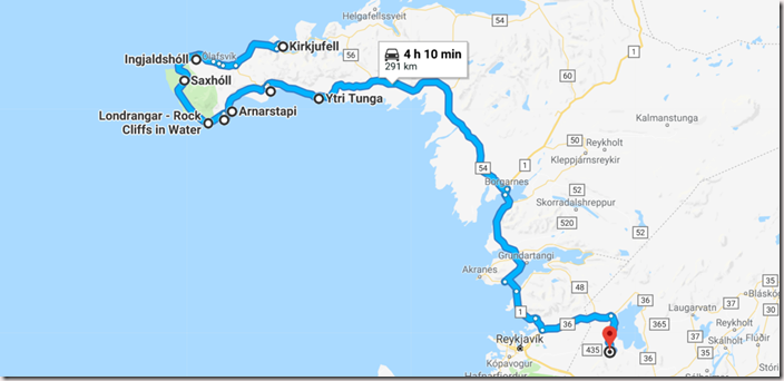 Map of Ultimate Iceland Road trip going from Snaefellsnes Peninsula to Thingvellir