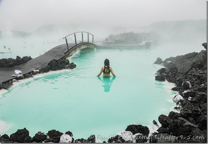 Woman bathing in Blue Lagoon