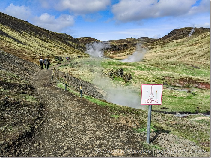 Steam rising out of Reykjadalur valley