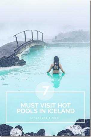 Woman bathing in icy blue water of Blue Lagoon