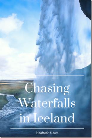 Standing behind Seljalandsfoss waterfall