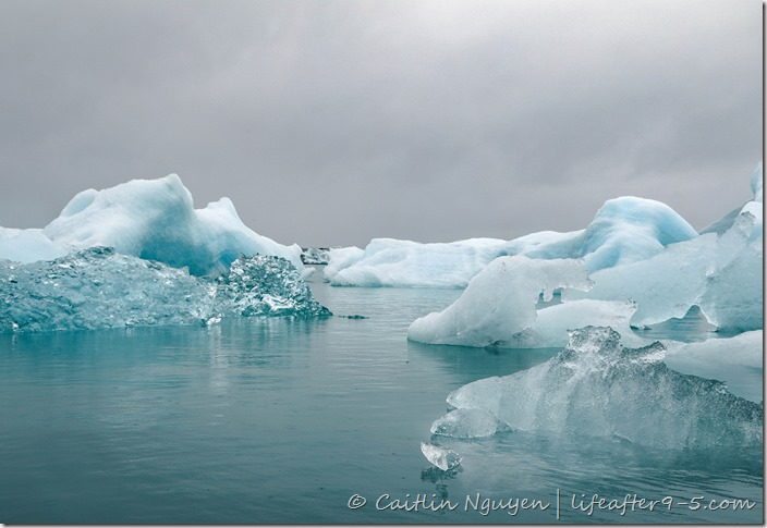 Iceberg floating in Jokulsarlon Glacier Lagoon