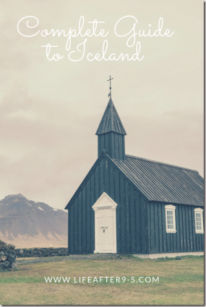 Iceland guide Black church with mountain background