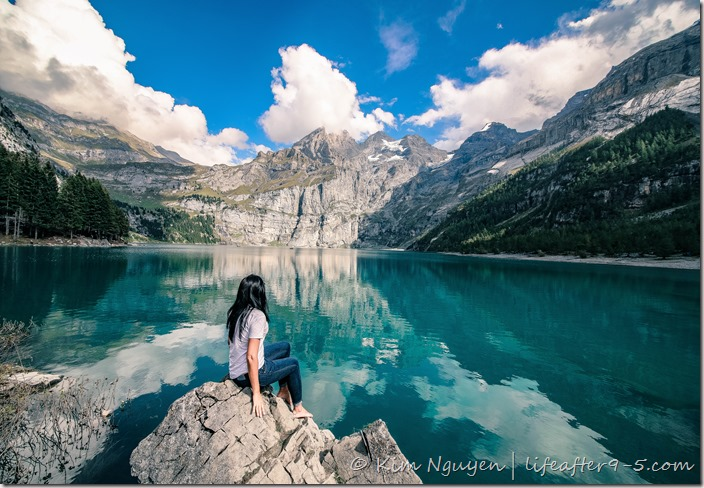 Admiring the view at Oeschinensee