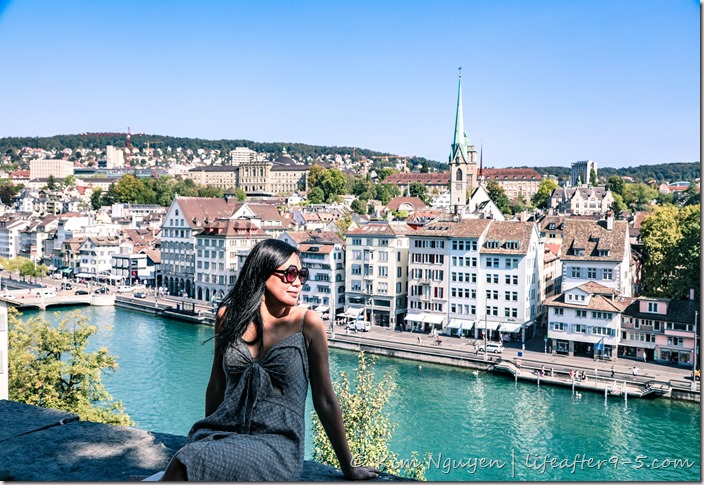 View of Zurich from Lindenhof lookout point