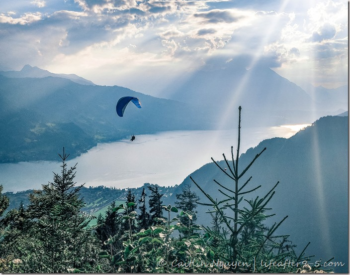 View of paraglider over Lake Brienz from Harderkulm
